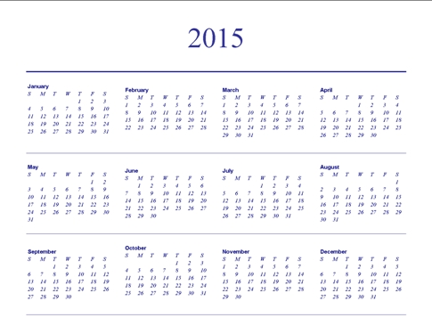 Understated Theme Yearly Horizontal Blank Calendar Template for Microsoft Understated Calendar Template