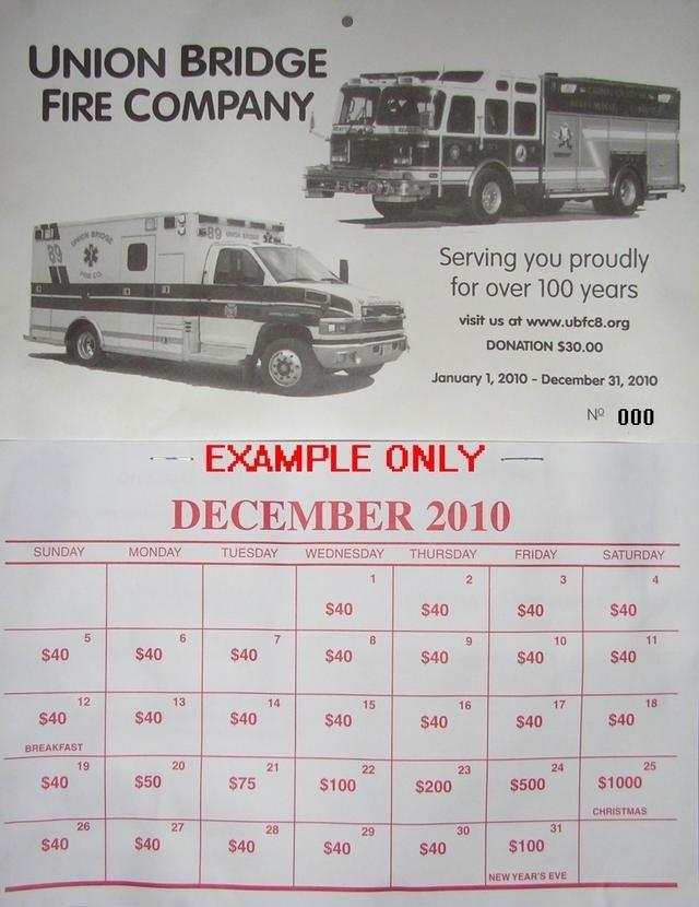 Union Bridge Fire Company with regard to Fundraiser Lottery Calendar Photo