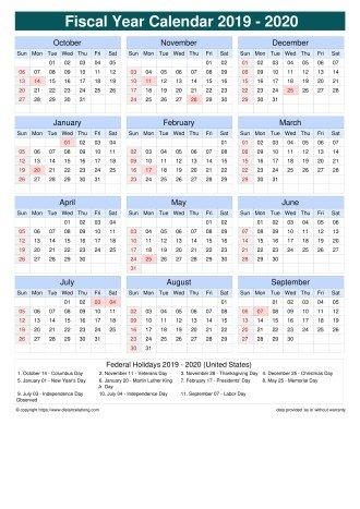 United States Fiscal Year 2019-2020 Calendar Templates, Free throughout Free Printable Fiscal Calendars