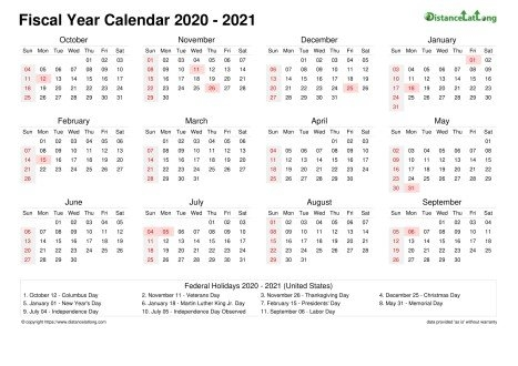 United States Fiscal Year 2020-2021 Calendar Templates, Free in Free Printable Fiscal Calendars