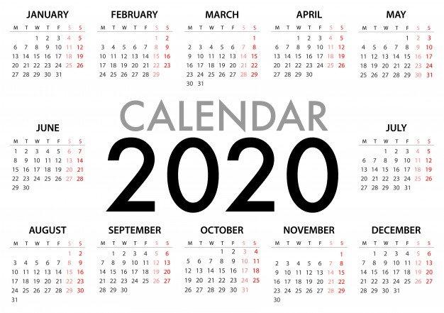Vector Premium | Calendario Para La Semana 2020 Comienza pertaining to Numero De Semanas En El Calendario Graphics