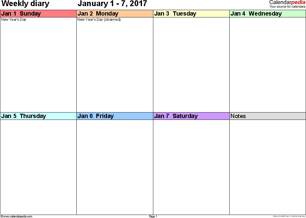 Weekly Calendar 2017: Template For Pdf Version 7, Landscape with Calendar Week To A Page