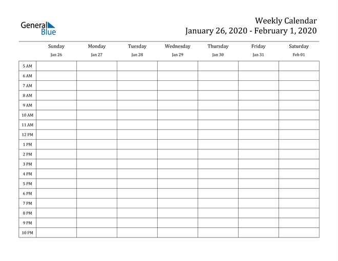 Weekly Calendar - January 26, 2020 To February 1, 2020 for 2020 Calendar Format Monday Through Friday Week Image
