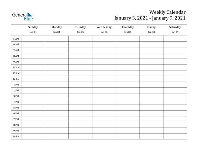 Weekly Calendar - January 3, 2021 To January 9, 2021 - (Pdf regarding Daily Calendar With Times