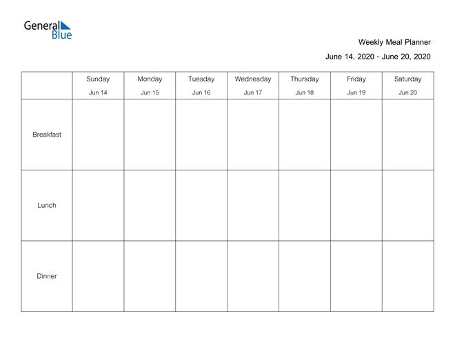 Weekly Calendar - June 14, 2020 To June 20, 2020 - (Pdf regarding June 2020 Calendar With Time Slots