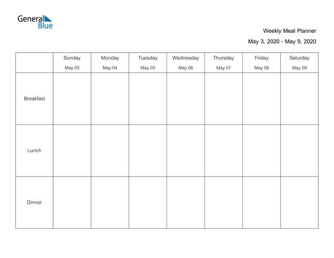 Weekly Calendar - May 3, 2020 To May 9, 2020 - (Pdf, Word regarding 2020 Calendar Format Monday Through Friday Week