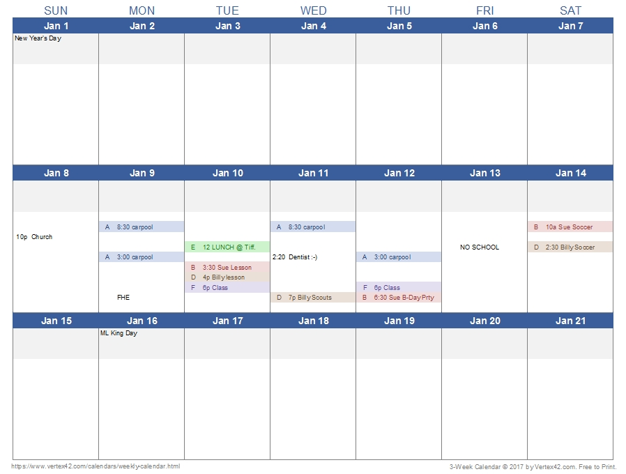 Weekly Calendar Template For Excel in Free Color Coded Calendar Template Photo