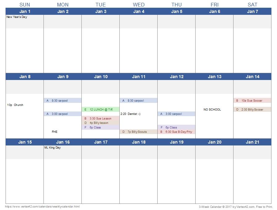 Weekly Calendar Template For Excel in Online Blank Weekly Calendar