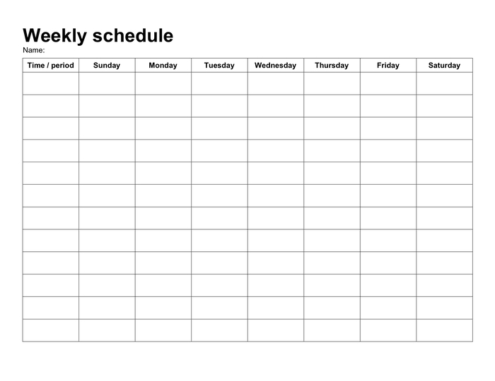 Weekly Schedule Template In Word And Pdf Formats within Sunday Through Saturday Schedule Printable Image