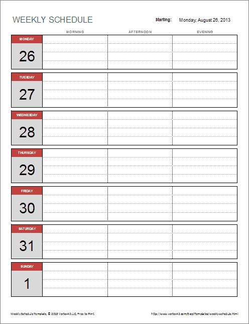 Weekly Schedule Templates For Excel And Pdf with regard to Sngle Day Schedule Template Download Photo