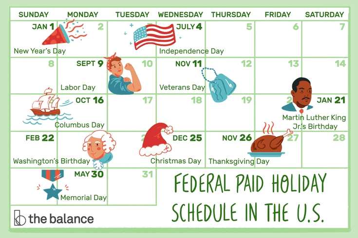 What'S A Typical Paid Holiday Schedule In The U.s.? inside State Of Michigan Employee Calendar Graphics