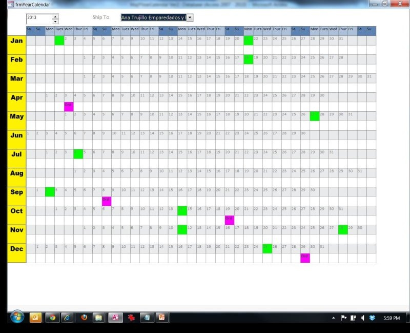 Yearly Calendar For Attendance - Microsoft: Access Forms inside Calendar For Ms Access For Schedule
