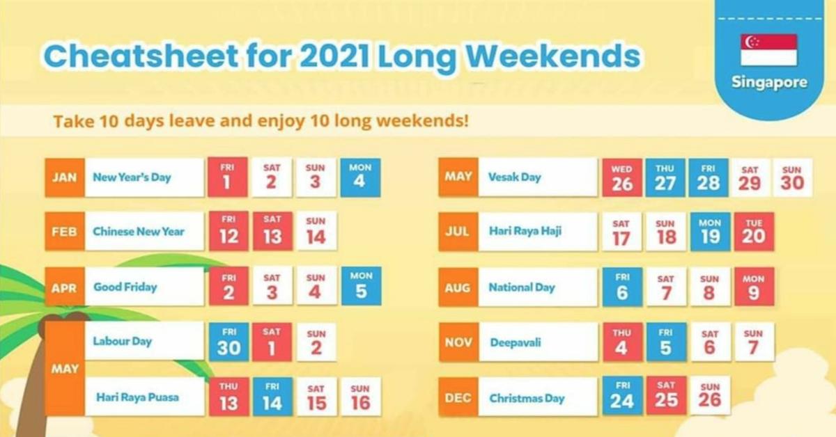 10 Long Weekends In Singapore In 2021 Bonus Calendar - Calendar Template 2021 for 2021 Planners Template Singapore