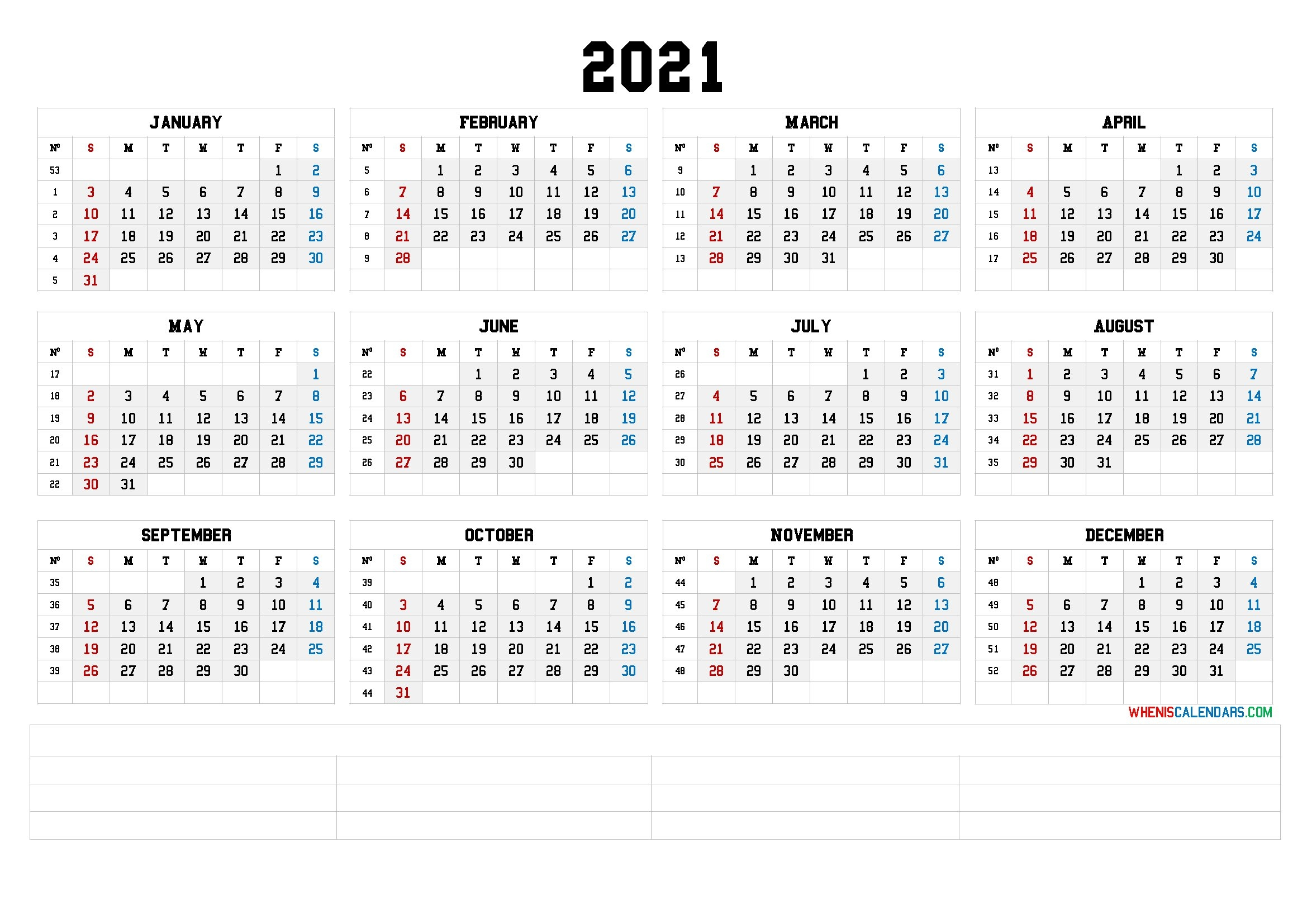 12 Month Calendar Printable 2021 (6 Templates) inside 2021 Calendar With Numbered Days Photo