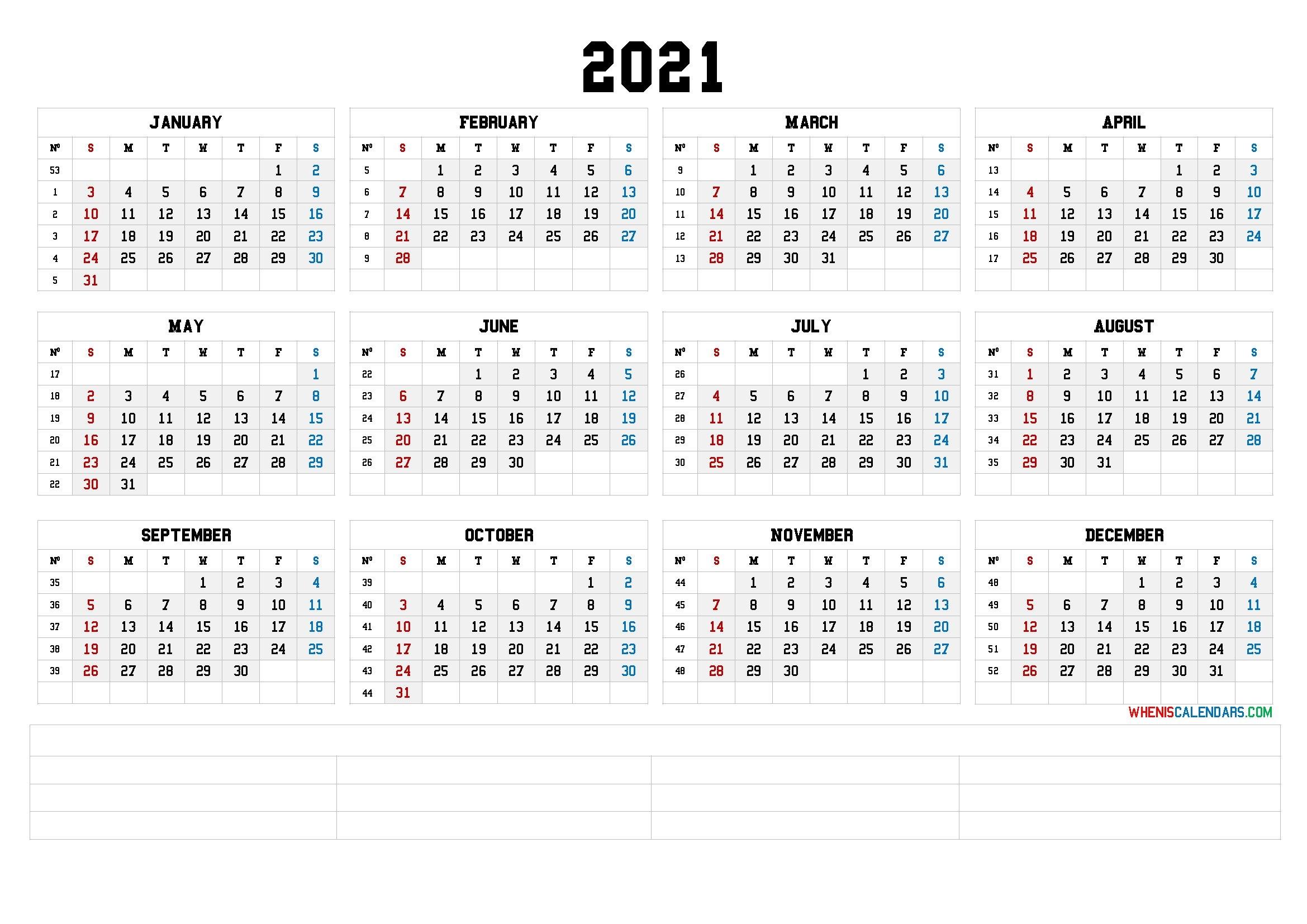 12 Month Calendar Printable 2021 (6 Templates) throughout Printable Calendar 2021 Monthly With Notes