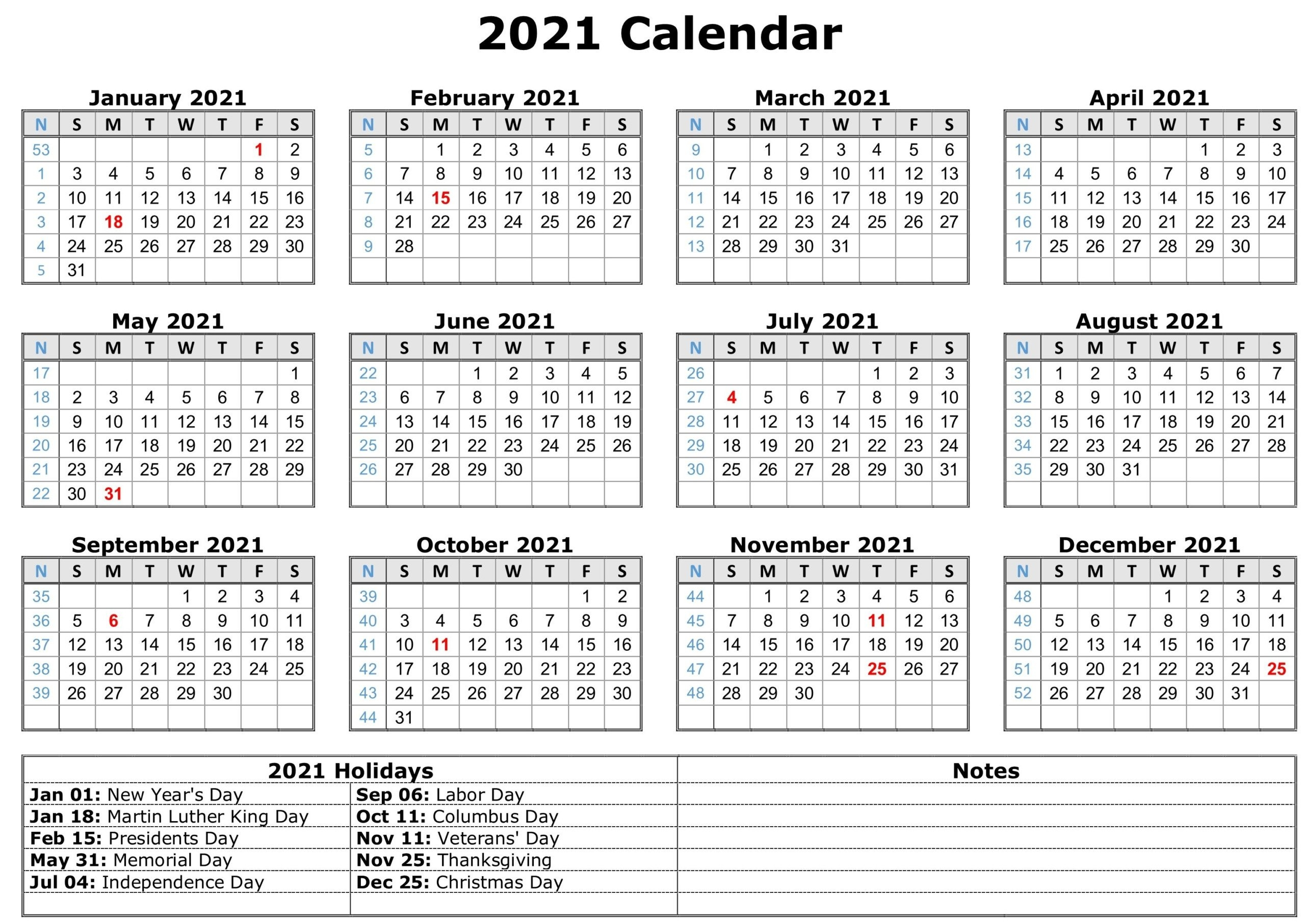 12 Month Printable 2021 Calendarmonth With Holidays | Printable Calendars 2021 in Printable 2021 Monthly Calendar Template Image