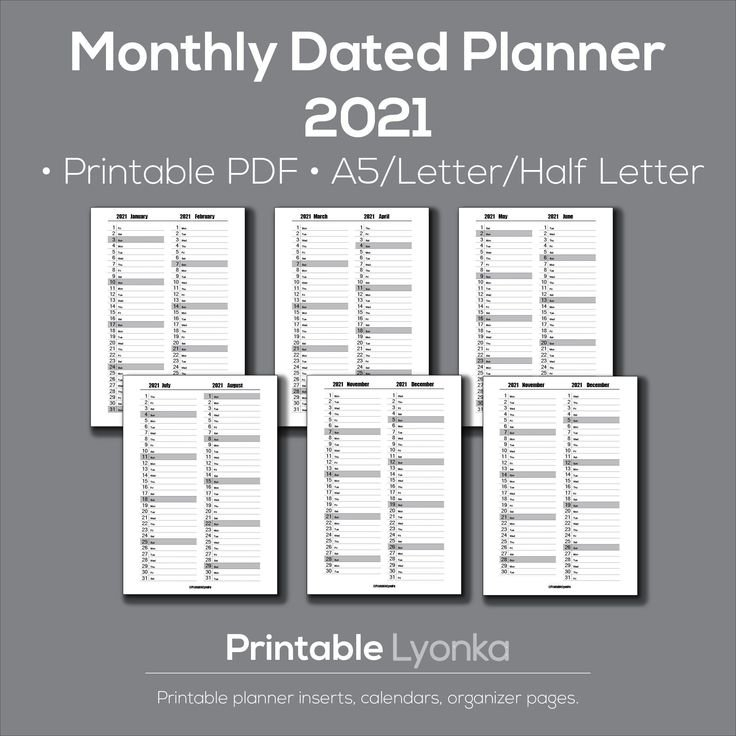 2 Month Overview 2021/Dated Monthly Planner 2021 Printable /Pdf / A5 Size/Letter/ Half Letter Size in Half Page Calendars 20212 Image
