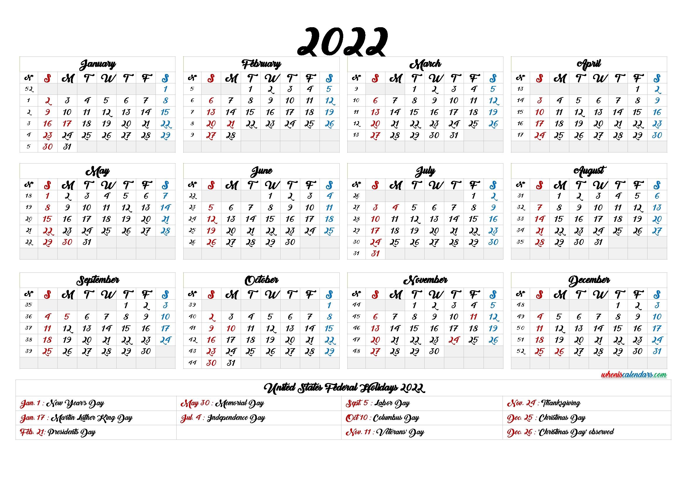20+ Printable Calendar 2022 - Free Download Printable Calendar Templates ️ inside 2021 2022 Calendar Printable One Page
