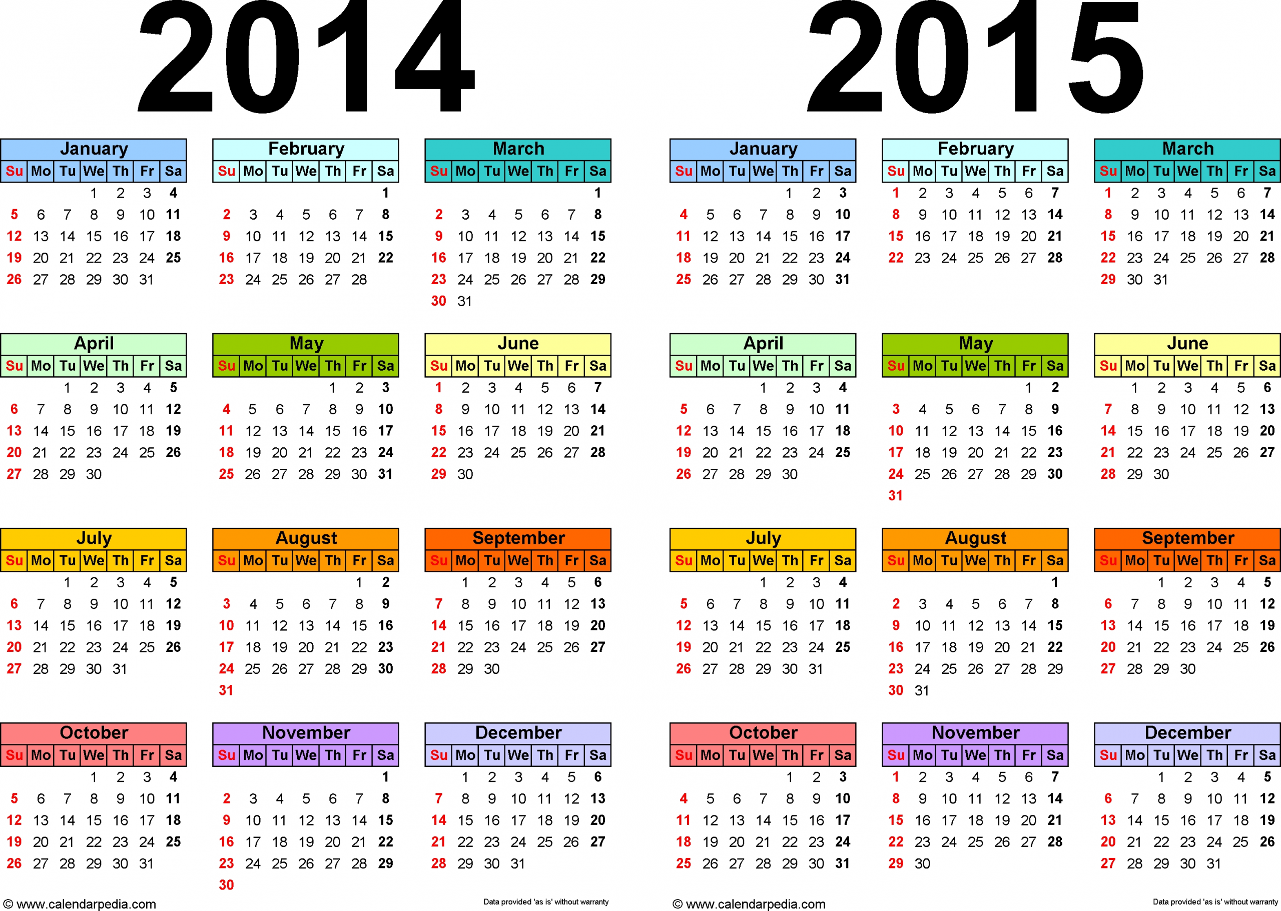 2014 Yearly Calendar | Calendar 2014 2015 Printable One Page | Printable Calendar Template with regard to Sample One Page Multi Year Calendars Image