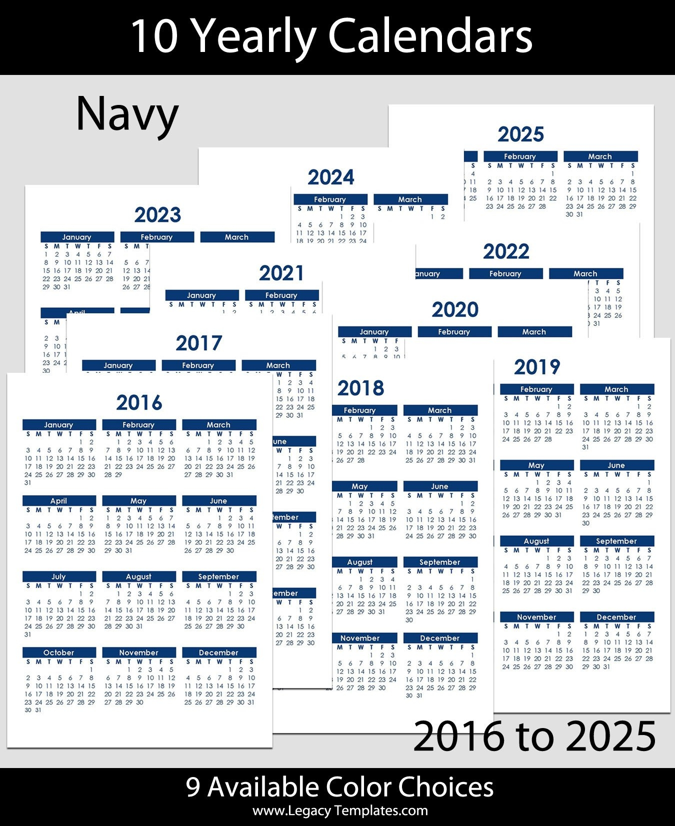 2016 To 2025 Yearly Calendar - A4 | Legacy Templates within Yearly Calendars 2021 To 2025