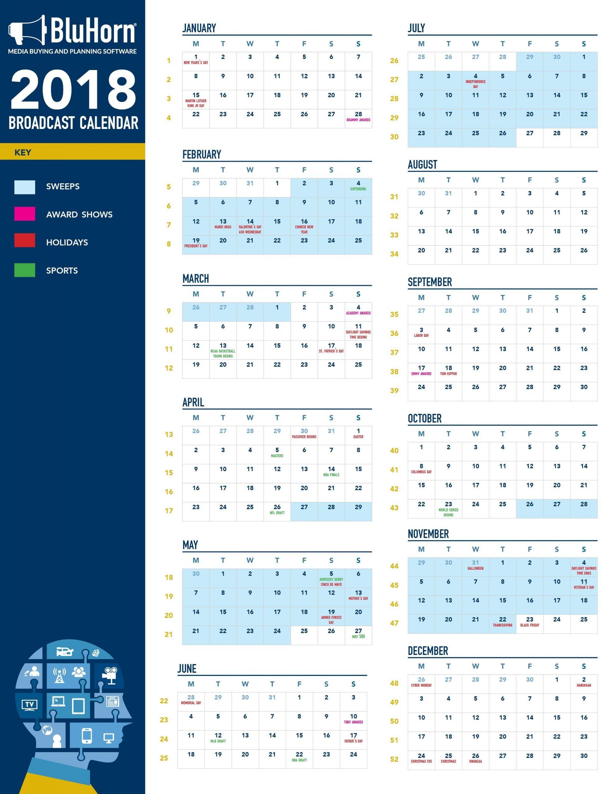 2018 Broadcast Media Calendar | Broadcast, Media Planning, Calendar with Broadcast Month Calendar 2021