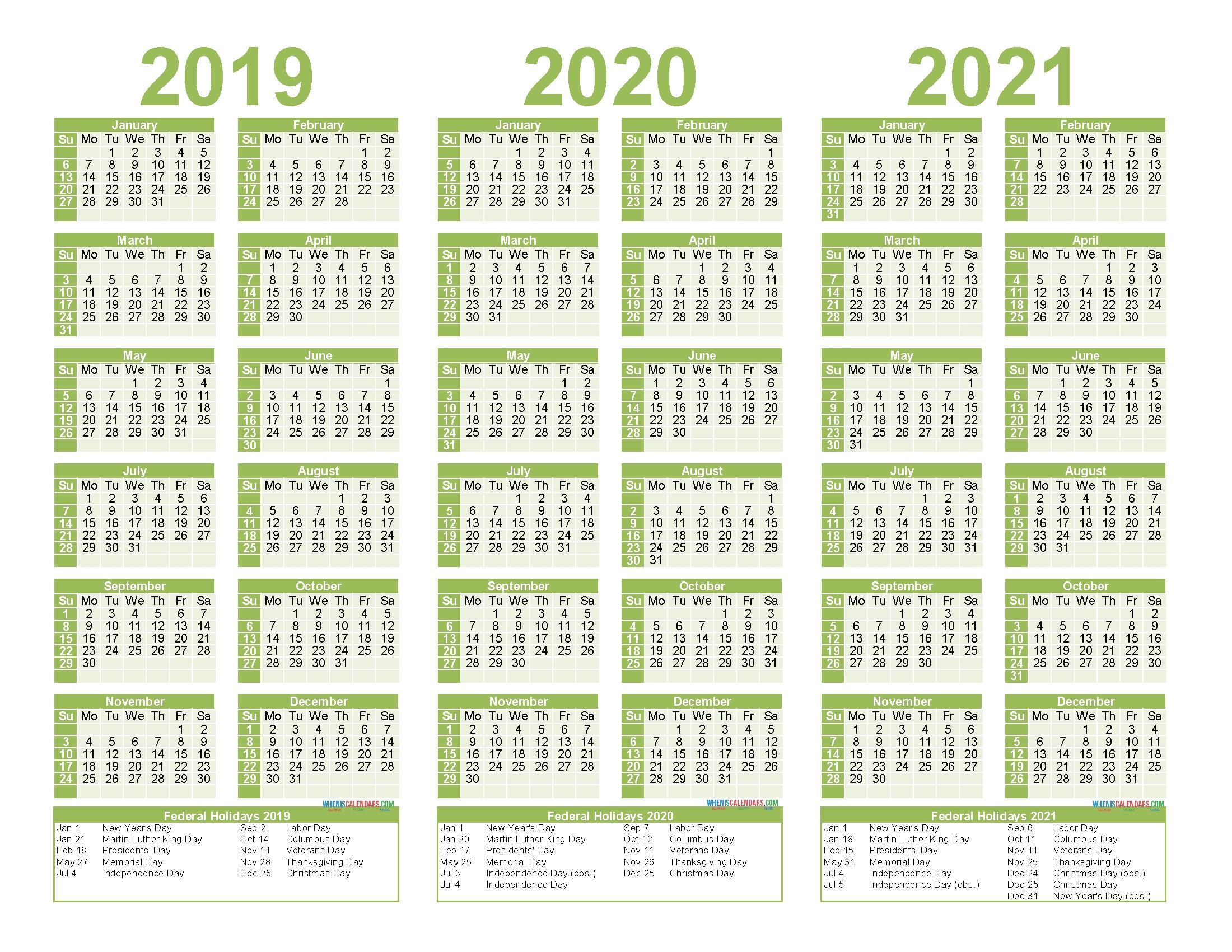 2019 To 2021 Calendar Printable Free Pdf, Word, Image regarding Three Year Calendar 2019 2021 2021 Calendar Pedia