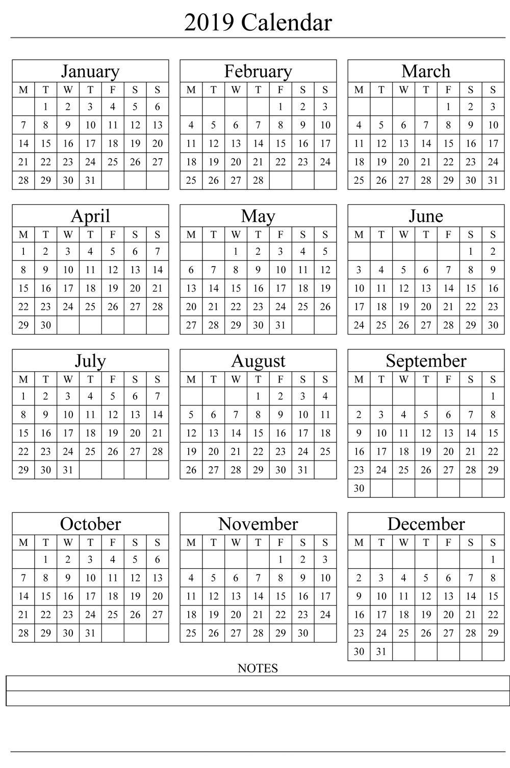 2019 Yearly Calendar Printable Templates - Holidays, Pdf Word Excel - Calendar Hour - 2020 within Yrdsb Calendar 2019 2021 Photo