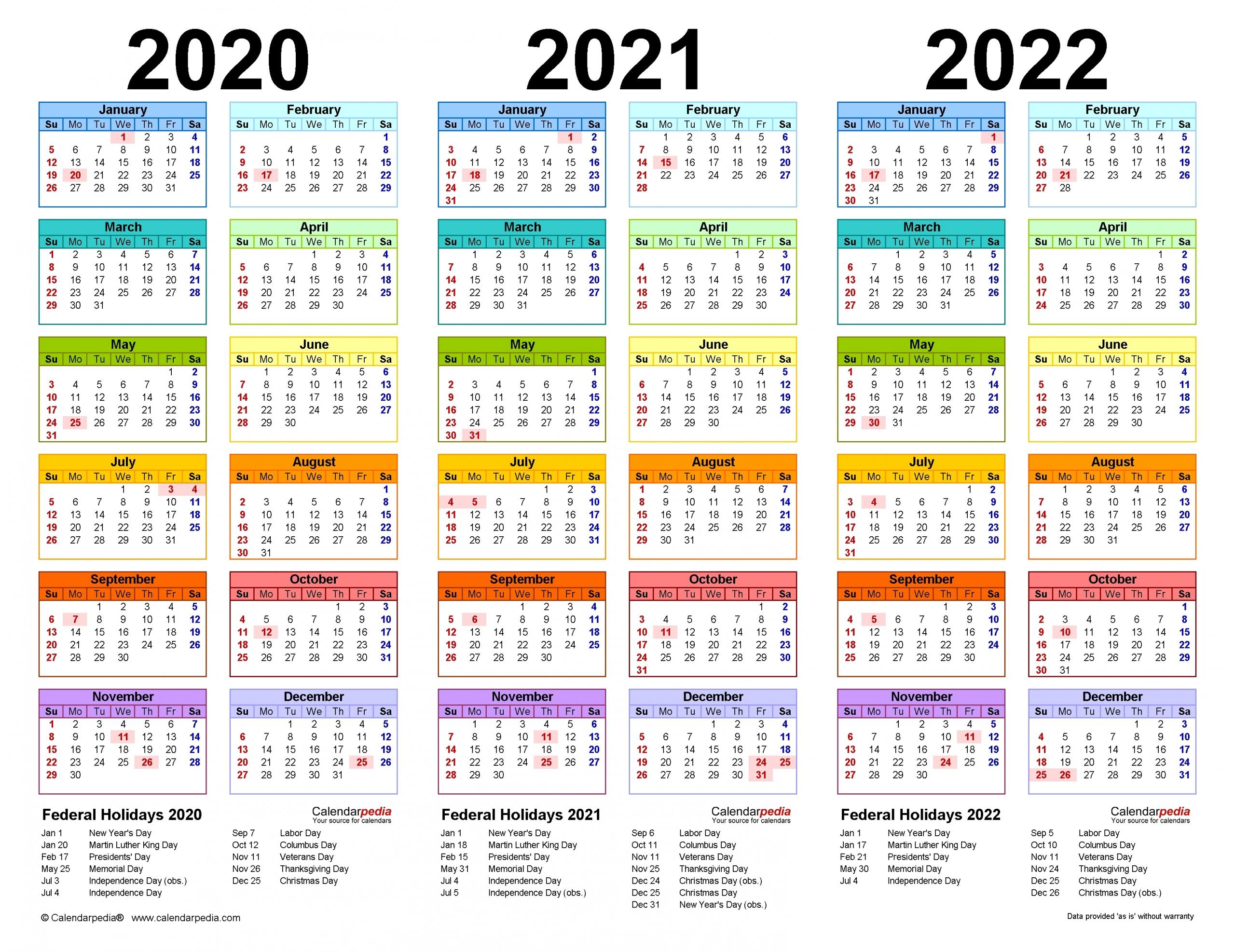 2020 2021 2022 2023 Calendar Printable One Page - Calendar Inspiration Design pertaining to 3 Year Printable Calendar 2021 2021 2022 Graphics