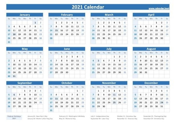 2020, 2021, 2022, 2023 Federal Holidays : List And Calendars -Calendars.best with regard to 2021 Calendar Printable Pdf Free Pay Date And Holiday