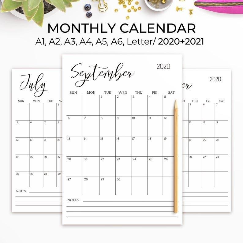 2020-2021 Printable Calendar Large Wall Calendar 2021 Desk   Etsy within 2021 Table Calendar Templates For Illustrator