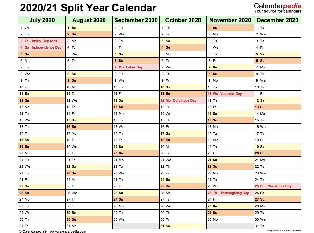 2020 / 2021 Split Year Calendar (July To June) - Calendar End - 2020 Calendar Printable in Half Page Calendars 20212