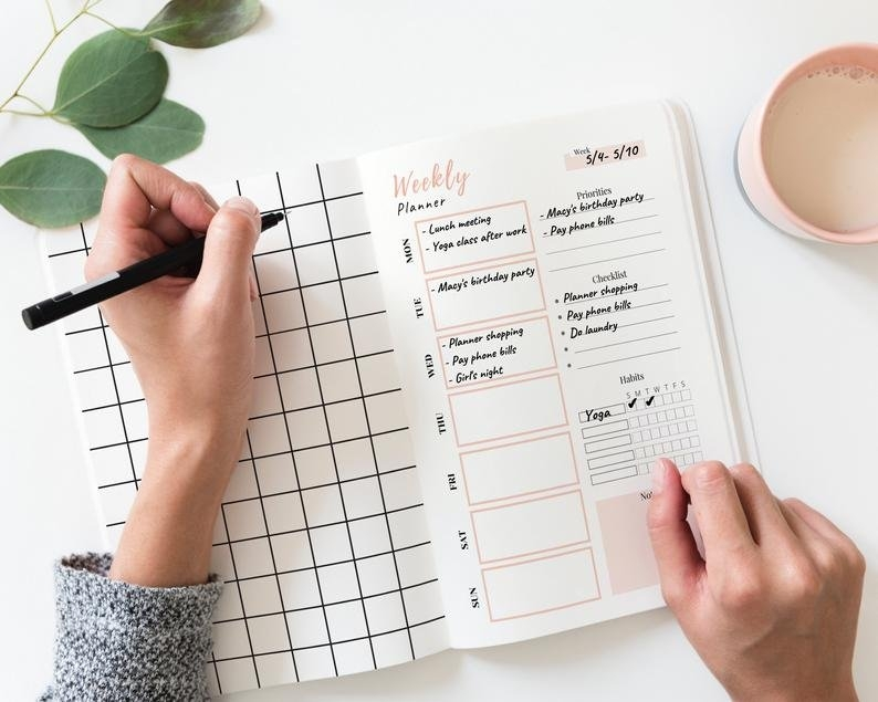 2020-2021 Weekly Planner Printable Undated Weekly Schedule | Etsy with Printable Daily Calendar 2021 Graphics
