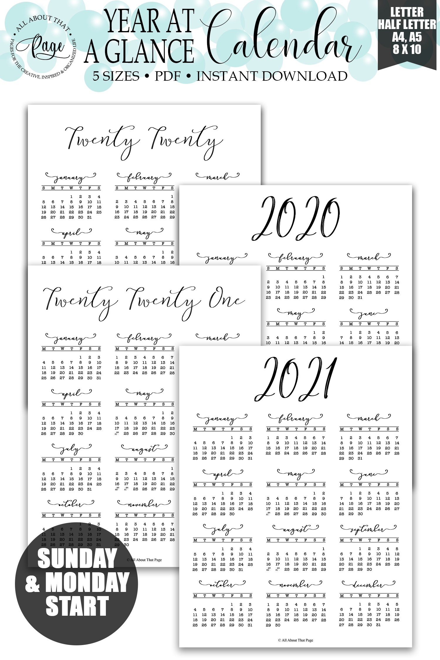 2020 2021 Year At A Glance Calendar Printable, Simple Minimalist, Vertical One Page Wall Planner with regard to Half Page Calendars 20212