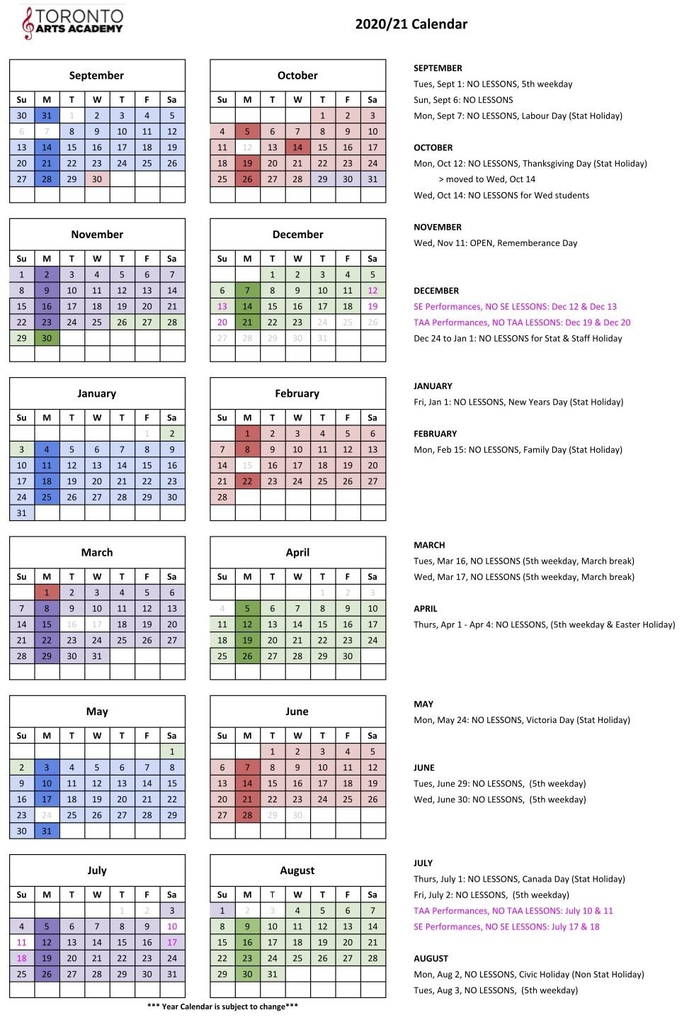 2020/2021 Year Calendar - Toronto Arts Academy with Template Piano Feire 2021 Graphics