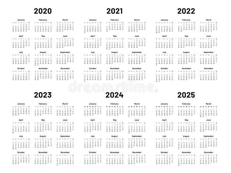 2020-2024 Annual Calendar With White Background Stock Illustration - Illustration Of October within October Calendars For 2022 2023 2024 And 2025