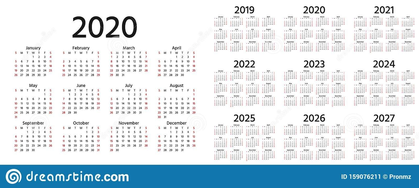 2020 Calendar. Vector Illustration. Template Year Planner Stock Vector - Illustration Of within Calender 2021 To 2025 Photo
