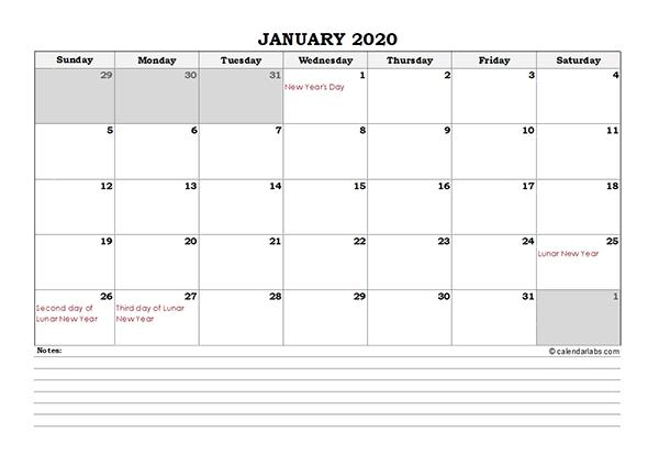 2020 Hong Kong Monthly Calendar With Notes - Free Printable Templates pertaining to 2021 Calendar Hong Kong Download Graphics