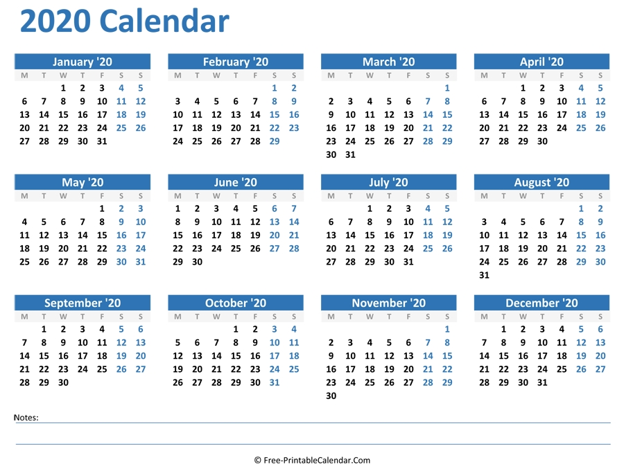 2020 Yearly Calendar in Printable Calendar 2021 Monthly With Notes Graphics