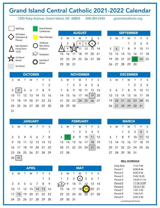 2021-2022 Calendar - Grand Island Central Catholic intended for Where To Get 2021 Catholic Calendars Made