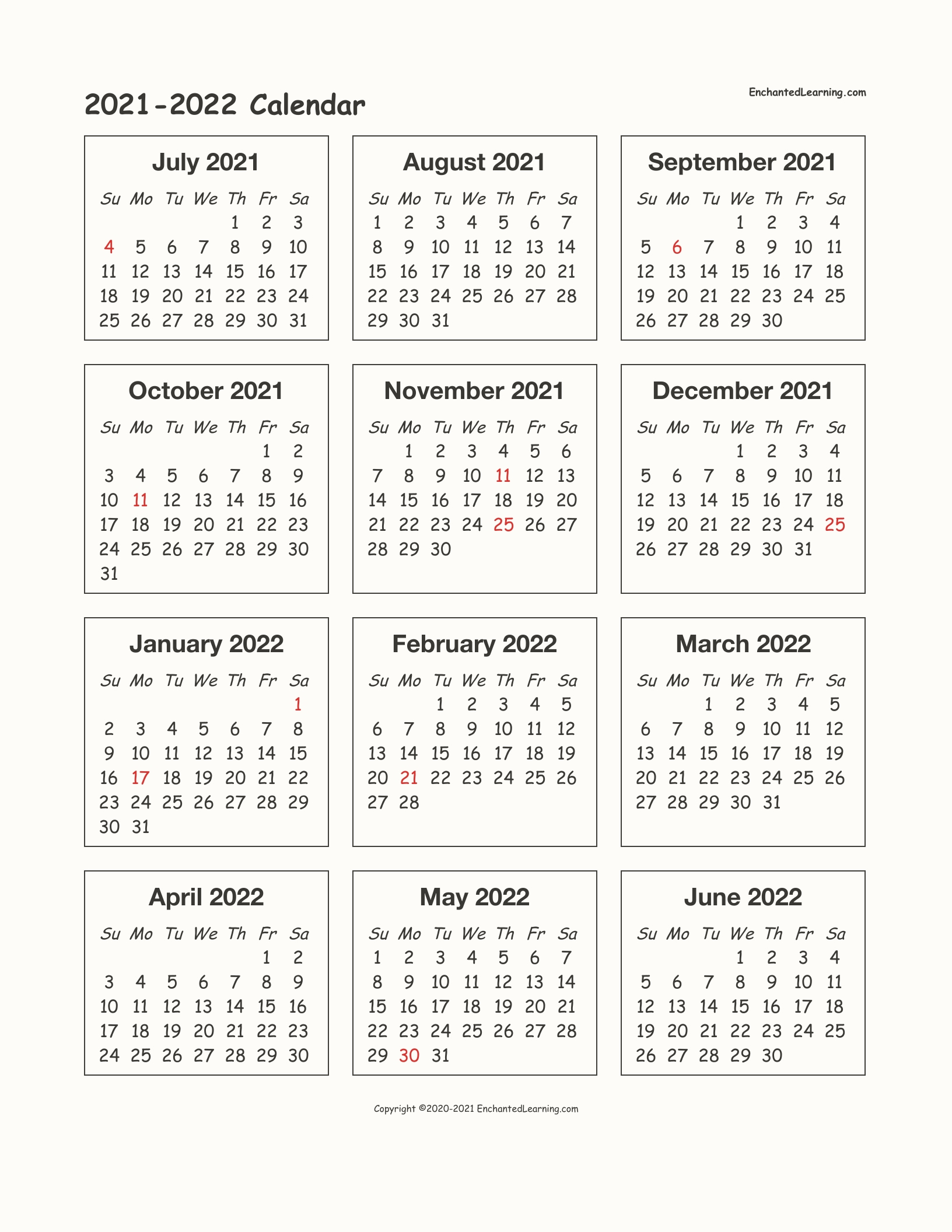 2021-2022 School-Year One-Page Calendar - Enchanted Learning for 3 Year Calendar 2021 2021 2022