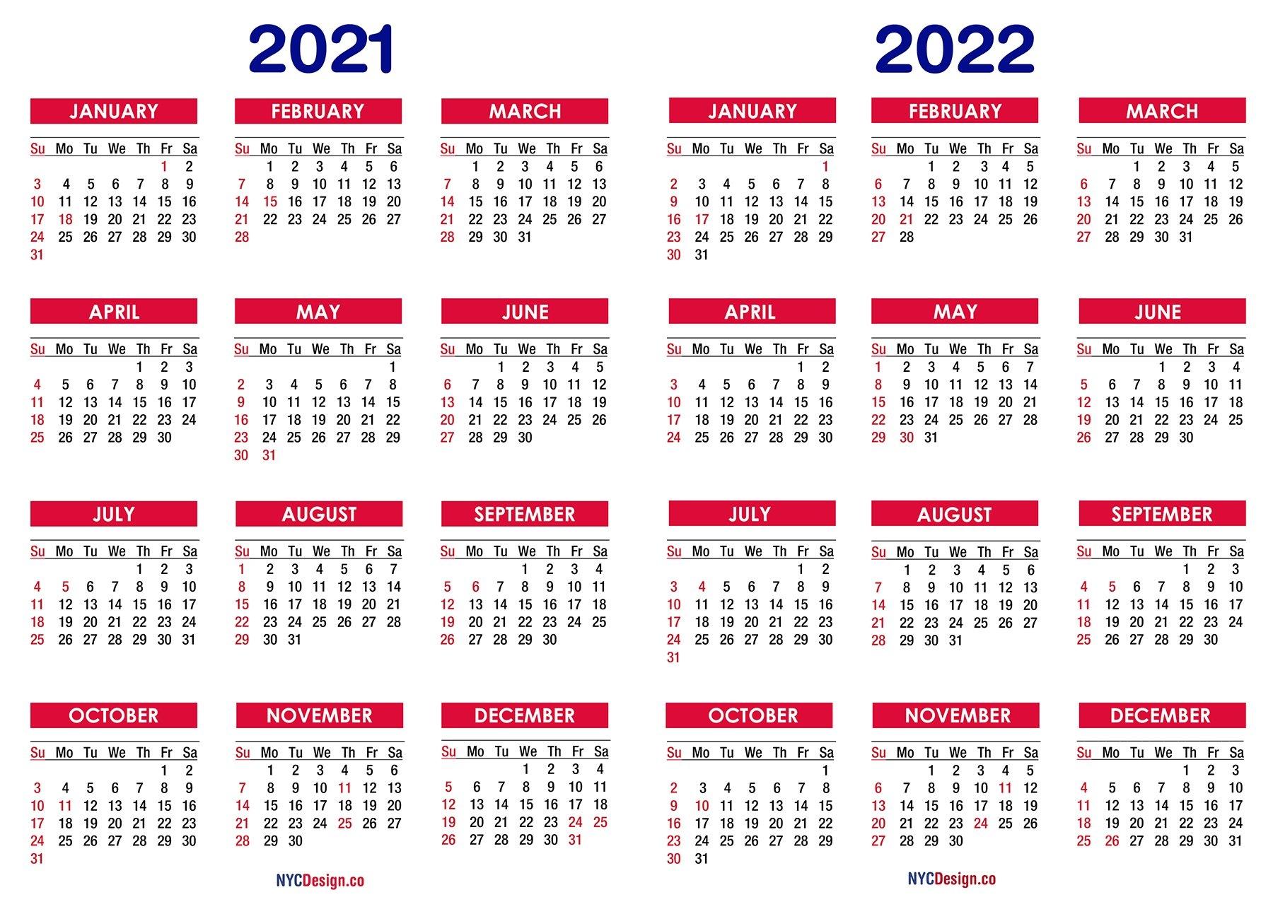 2021 - 2022 Two Year Calendar With Holidays, Printable Free - Nycdesign.co | Calendars Printable inside 3 Year Printable Calendar 2021 2021 2022