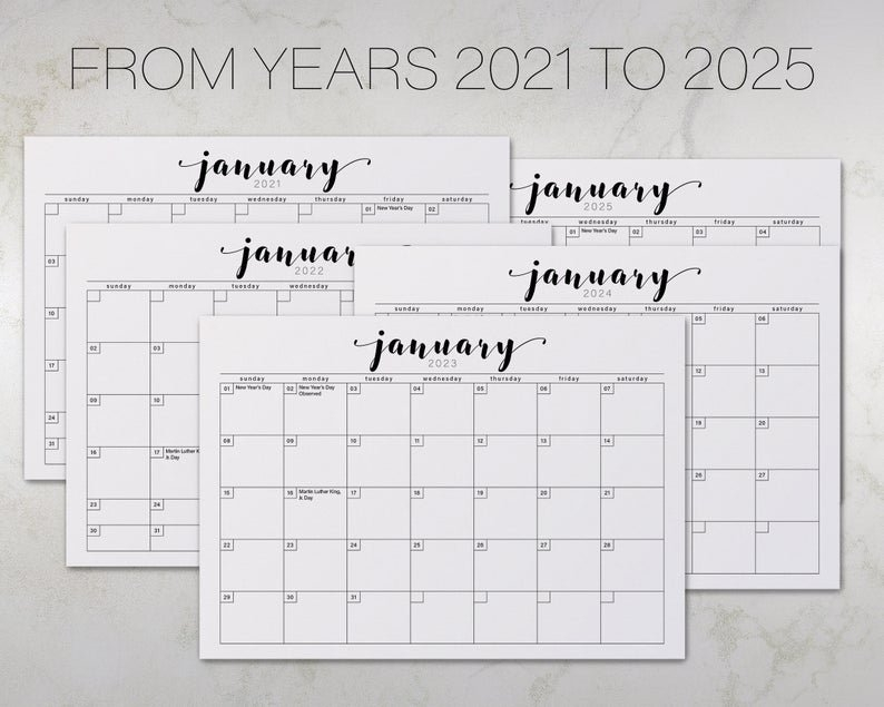 2021-2025 Five Years Minimalistic Printable Calendar Instant | Etsy with regard to Calender 2021 To 2025 Photo
