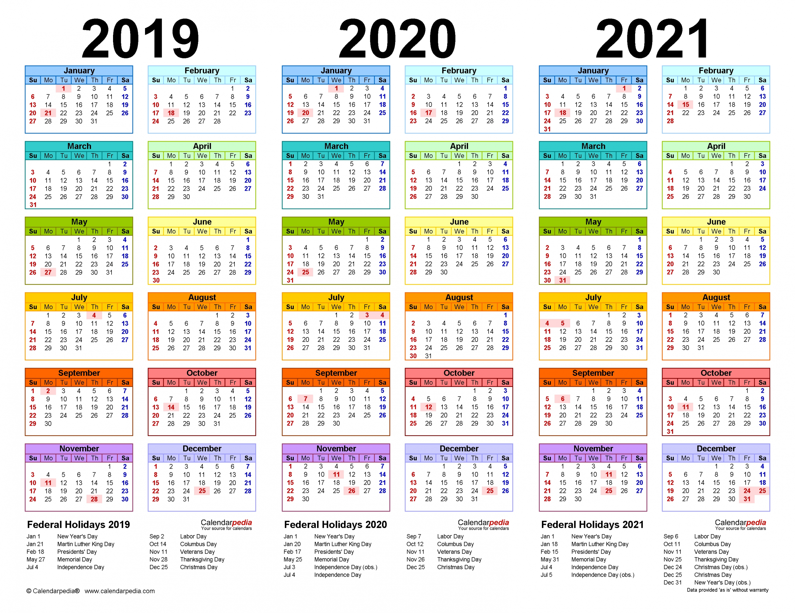 2021 And 2019 Holiday Calendar within Yearly Calendars 2021 To 2025