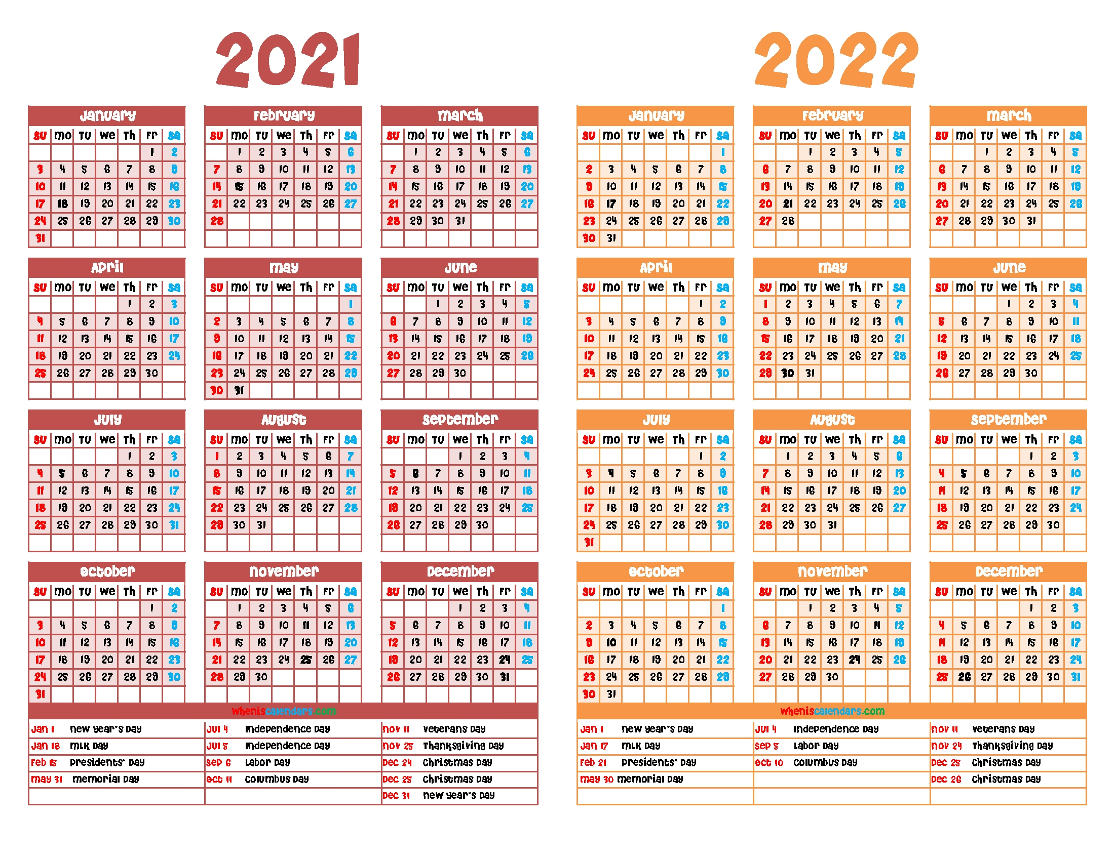 2021 And 2022 Calendar Printable Free in 2021 2022 Calendar Printable One Page