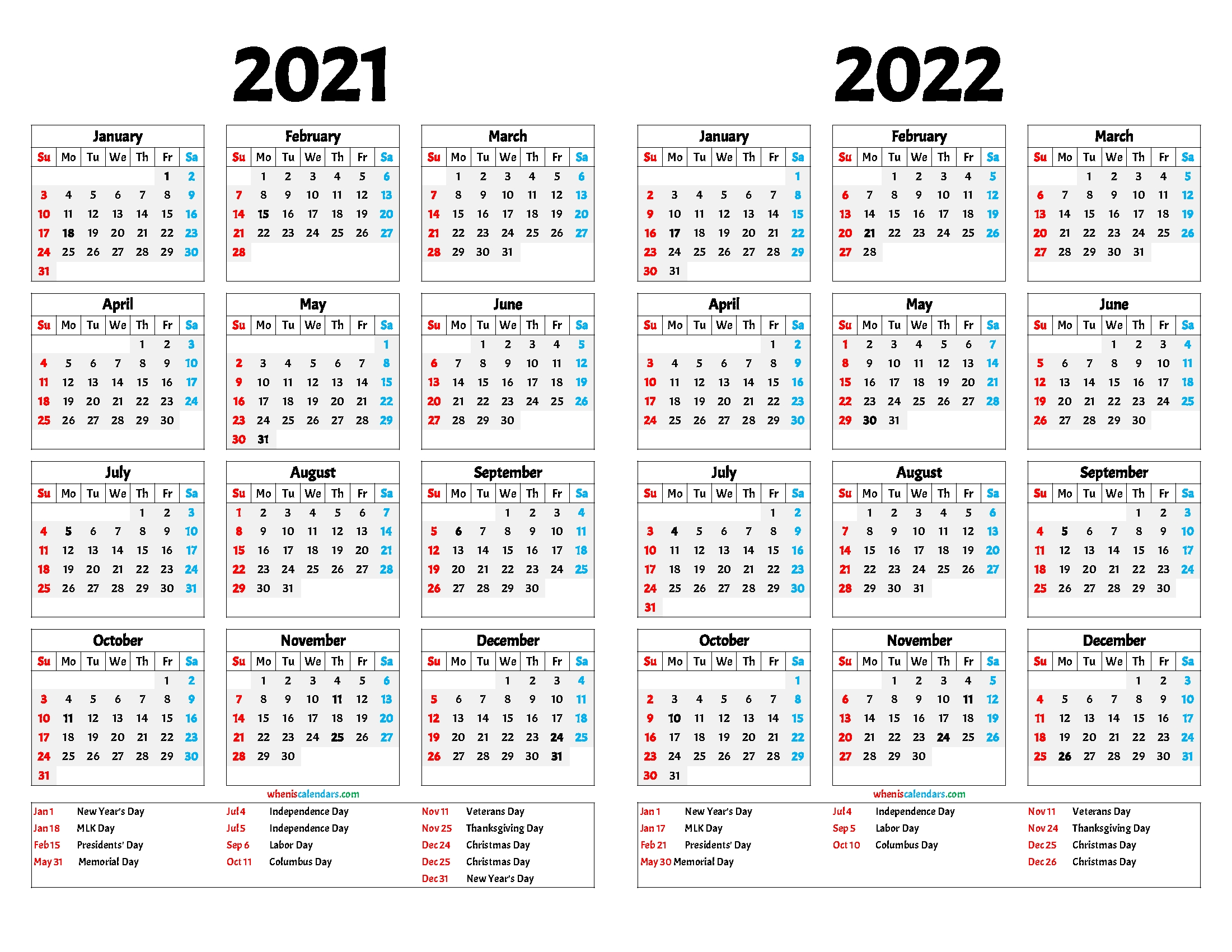 2021 And 2022 Calendar Printable Free intended for 3 Year Printable Calendar 2021 2021 2022