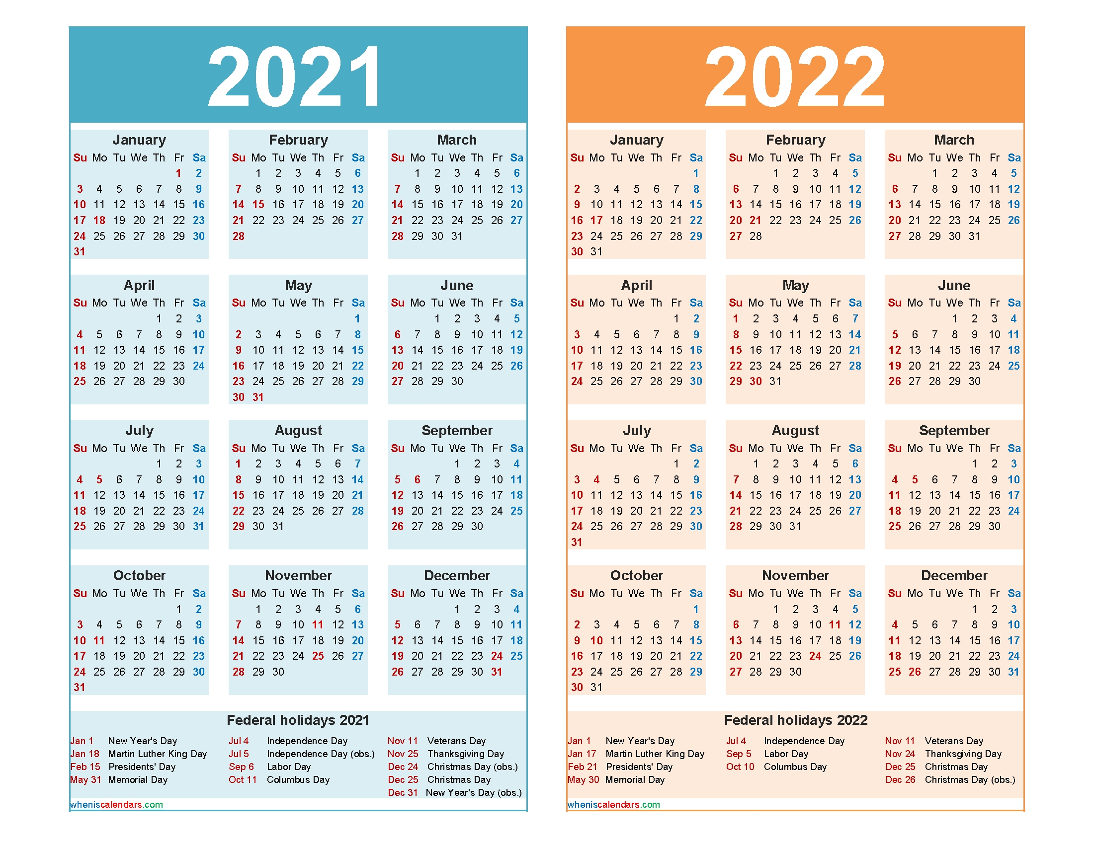 2021 And 2022 Calendar Printable Word, Pdf - Free 2020 And 2021 Calendar Printable Monthly And pertaining to Sample One Page Multi Year Calendars Image