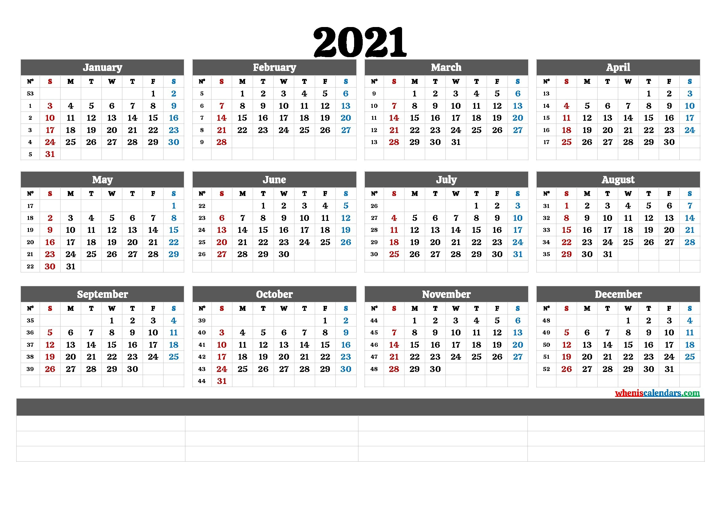 2021 Annual Calendar Printable (6 Templates)   Free Printable 2020 Monthly Calendar With Holidays throughout 2021 Calendar With Numbered Days Photo