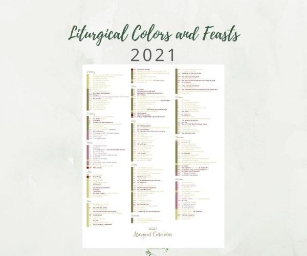 2021 At A Glance Catholic Liturgical Calendar - Elizabeth Clare regarding Where To Get 2021 Catholic Calendars Made