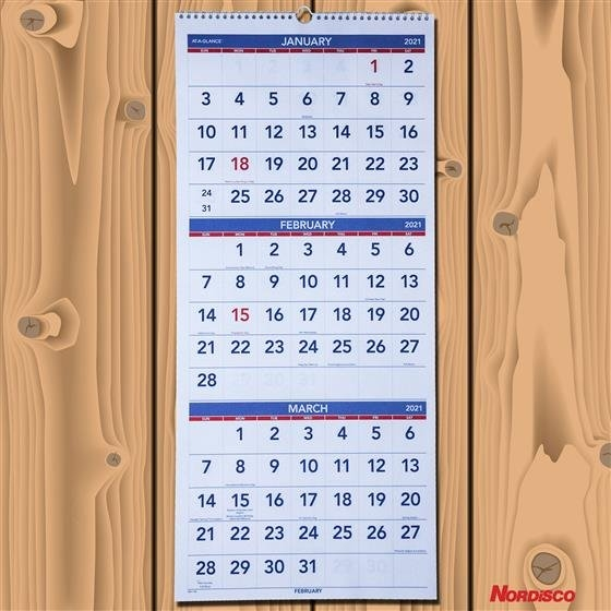 """2021 At-A-Glance Pm11-28 3-Month Wall Calendar, 12-1/4 X 27""""   Nordisco regarding Page By Page Large Wall Calendars 2021 Image"""