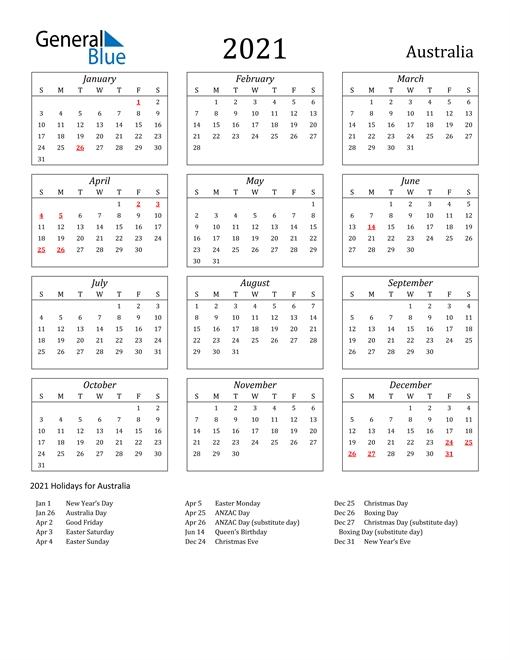 2021 Calendar - Australia With Holidays with South Australia Calendar 2021 Graphics